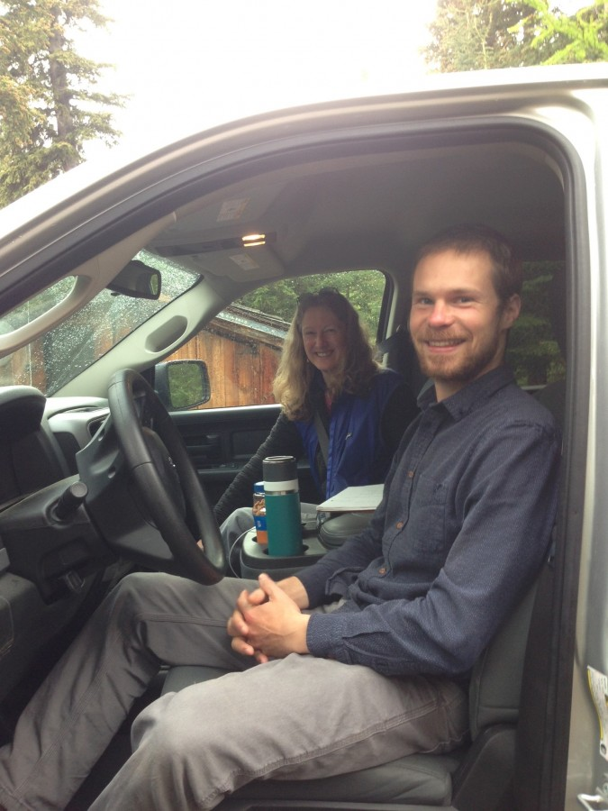 Ethan and Metta in the truck ready to leave River's house for the epic 866 mile, 20 hour road trip from Anchorage to Fairbanks then up the Dalton Highway to Prudhoe Bay.