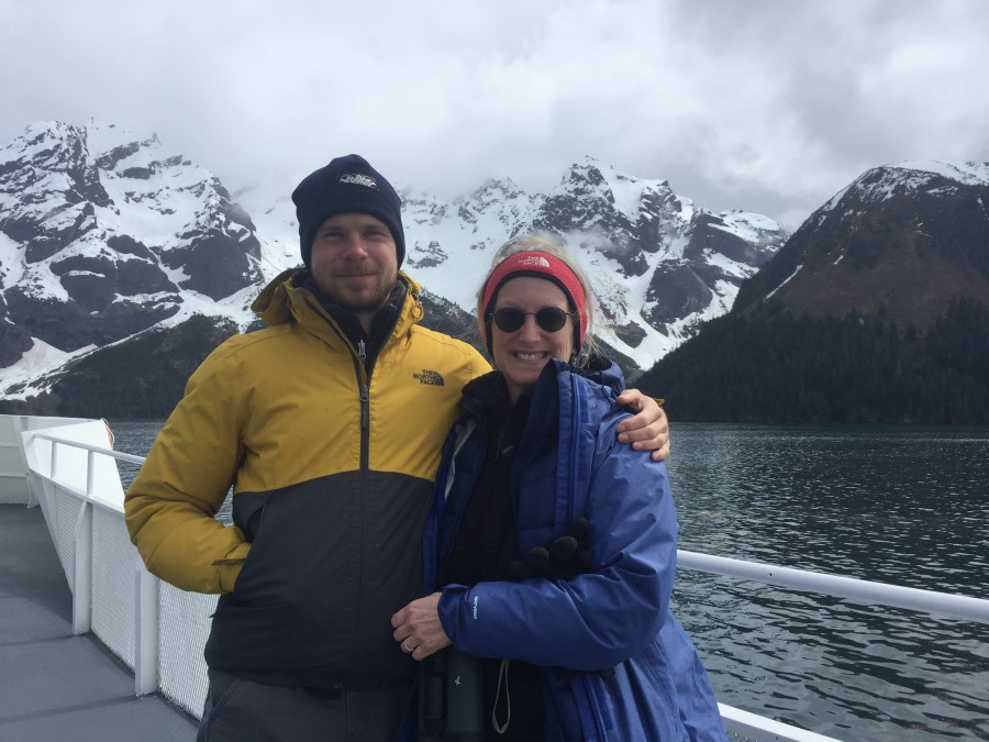 Ethan and Metta enjoy the spectacular scenery of Kenai Fjords National Park.