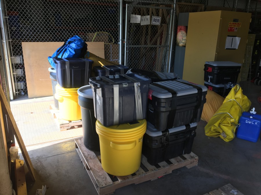 Packed gear gets carefully loaded onto pallets then shrink wrapped.