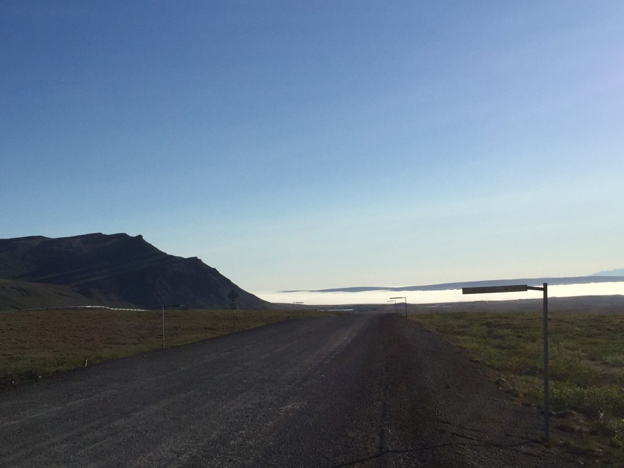 Photo Credit: Metta McGarvey. Driving north from Galbraith in gorgeous full sun, we could see the fog bank from the Arctic Ocean in the distance toward Prudhoe.