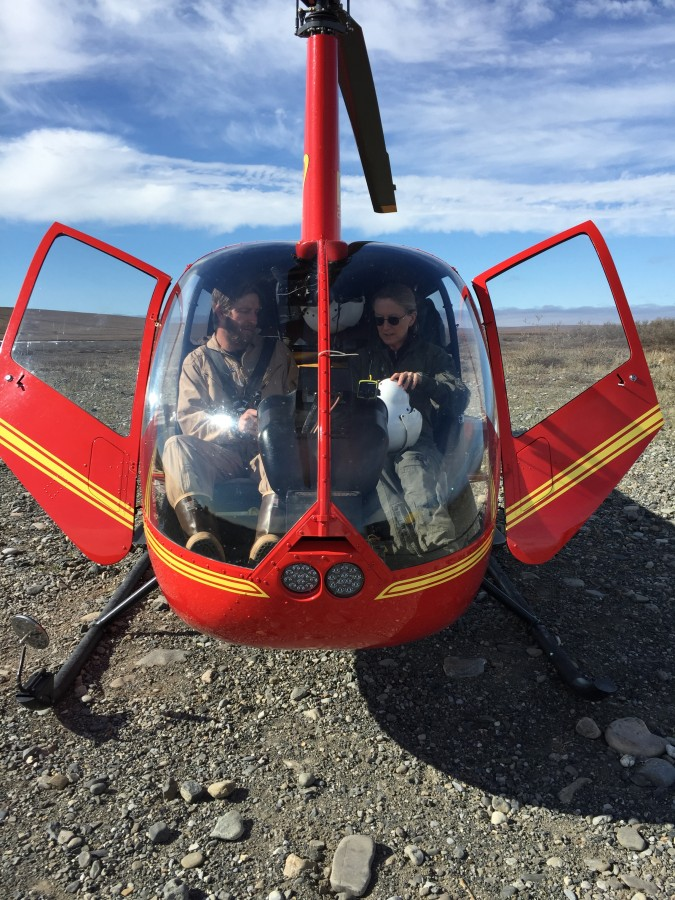 Photo Credit: Lindall Kidd / USFWS. Lindall and Rick arrive with a load of gear in a Cessna 185 while Metta comes last in the helicopter from Kavik with Nick.