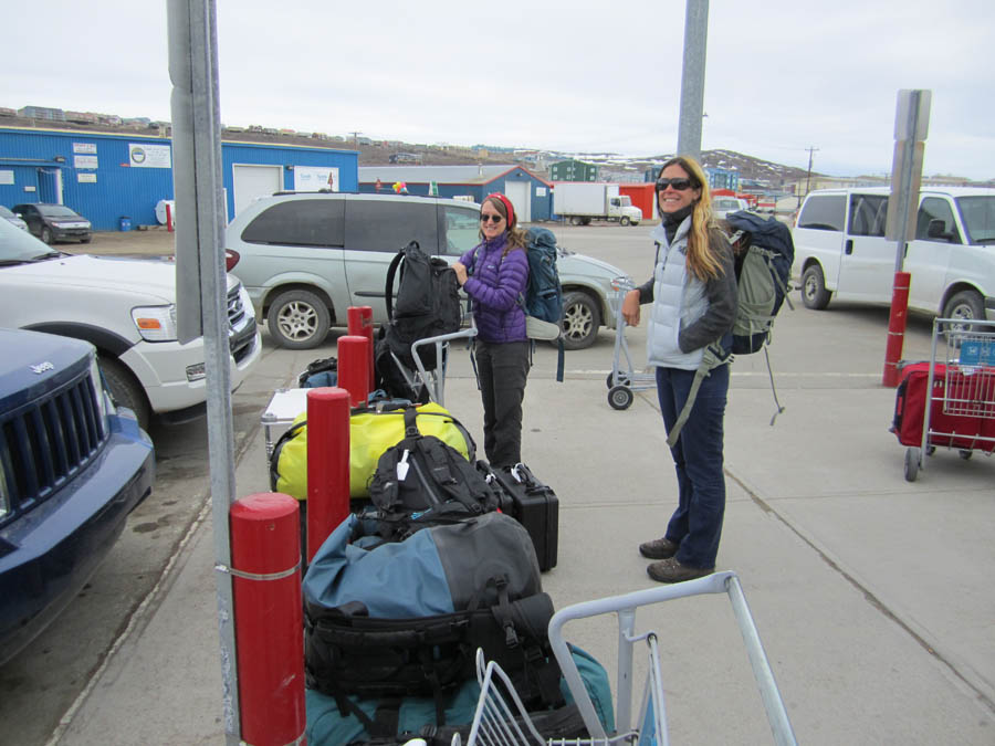 First step, getting our personal camping gear to the warehouse.  Paul Smith, our partner from Environment Canada, flew up with us and has been taking excellent care of us, and has gone to fetch a truck to transport the gear.