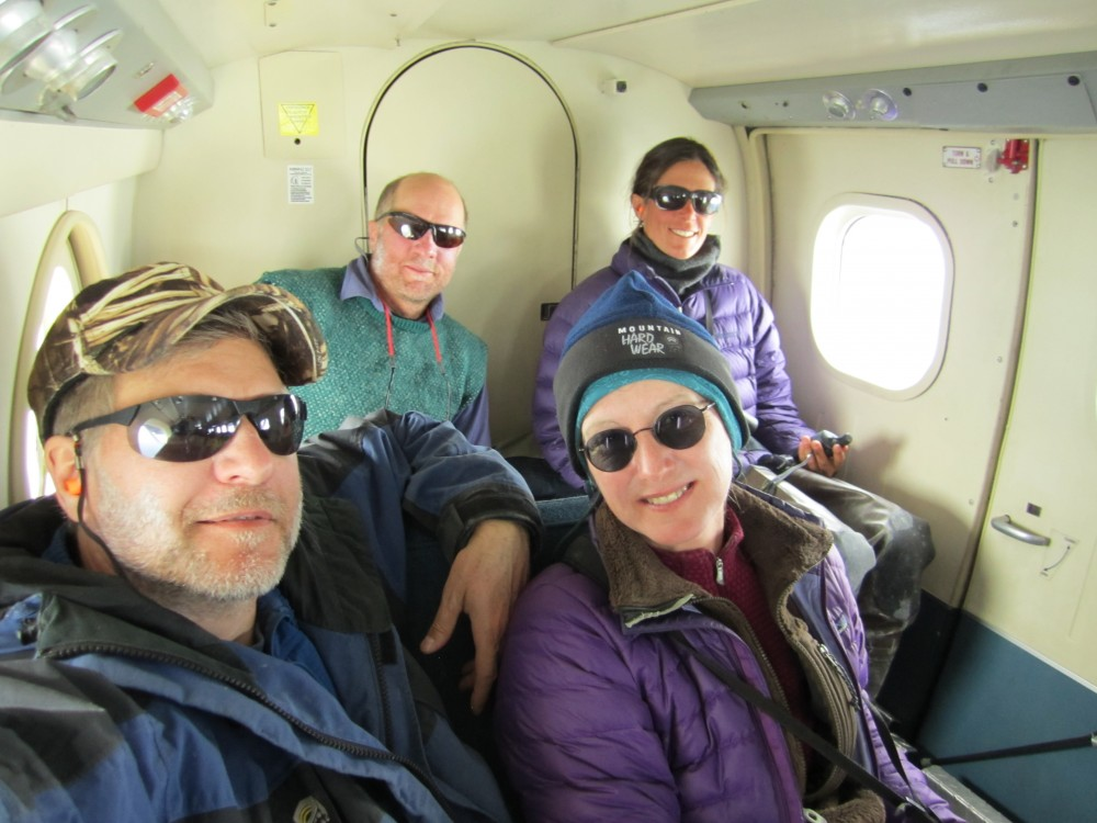 Here is the crew all packed into the Twin Otter flying away from Coats Island. We were happy to be on our way home but already missing the wilderness.
