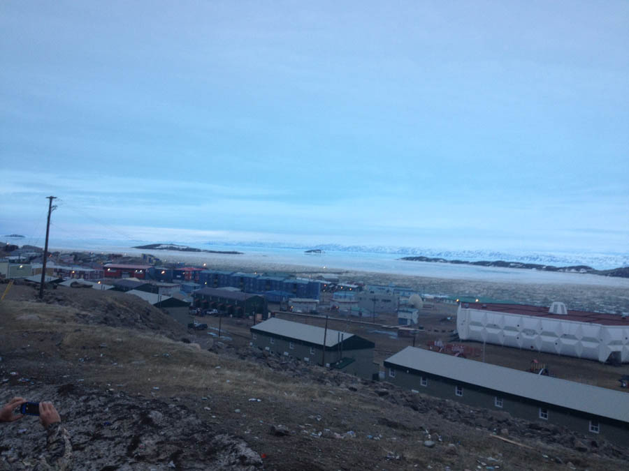 Our first pause to enjoy the surroundings came late in the evening, overlooking the town of Iqaluit from a hill above, with the long arctic evening light stretching across the distant hills, where we will soon be headed.