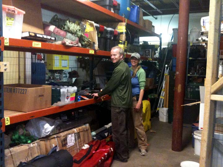 Finding all the gear stored in the warehouse and figuring out whether it is still serviceable, is a huge job. We were lucky to have River Gates, a veteran of many arctic expeditions with USFWS, help out with our preparations.