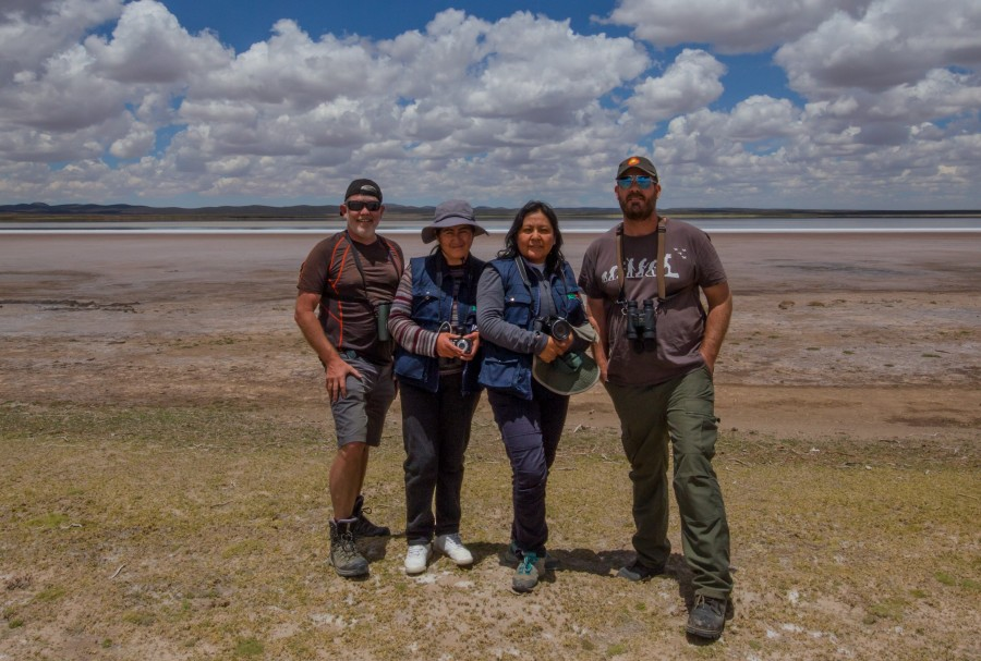 The survey team at one of the lagoons. From left to right: Garry Donaldson, Magali López, Sol Aguilar and Arne Lesterhuis.