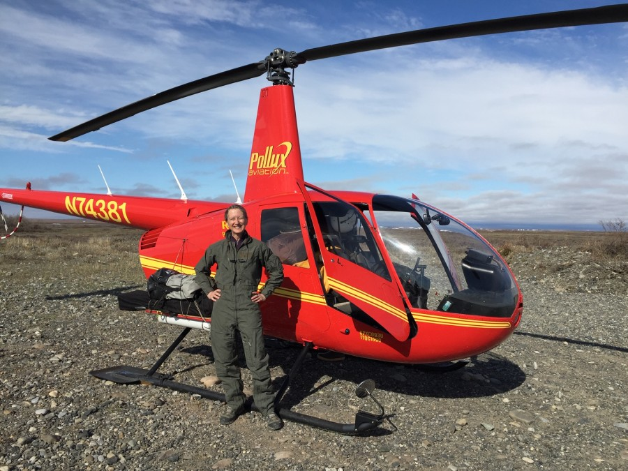 Metta just loaded up the helicopter with the pilot for the first flight into camp.