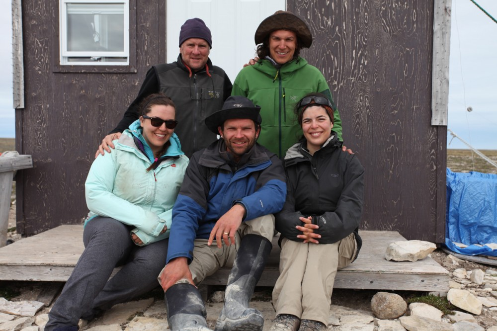 The entire human population of Coats Island in 2014. Clockwise from top left: Brad Winn, Scott Flemming, Sarah Neima, Shiloh Schulte, Karissa Reischke.
