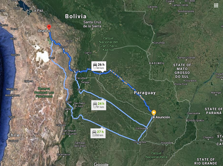 It would take us about two days and just over 1,700 km (1,050 mi) of road to get to our destination: Oruro, Bolivia.