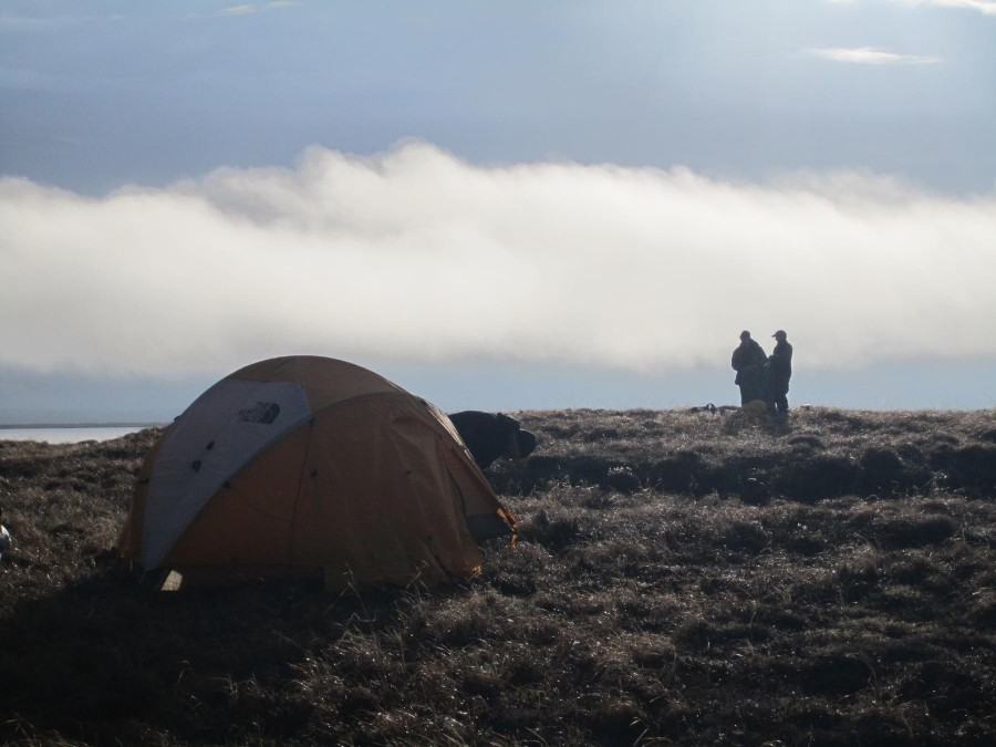 Brad and Stephen set up a tent against a backdrop of thick fog while Bob Gill secures a guy line to keep his standing in high winds. Photo by Metta McGarvey