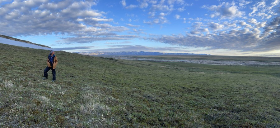 Kirsti Carr and Shiloh Schulte search for Whimbrel and American Golden-Plover nests in the Katakturuk River Valley in the Arctic National Wildlife Refuge.